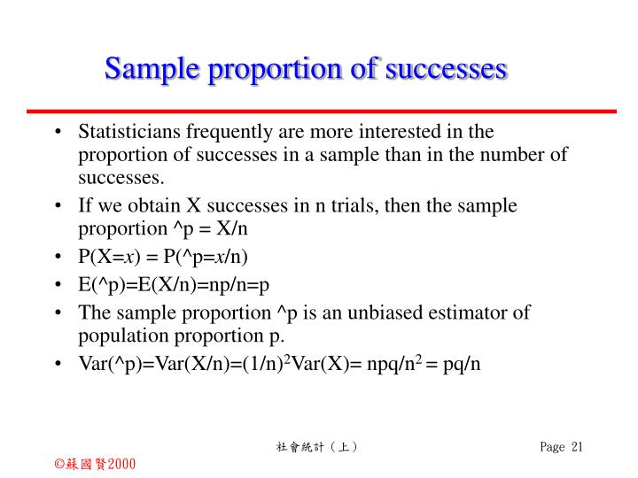Sample proportion of successes