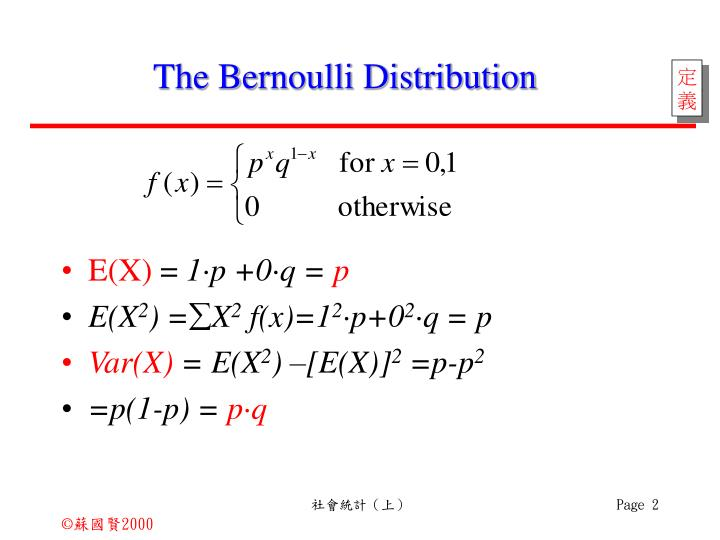 The Bernoulli Distribution