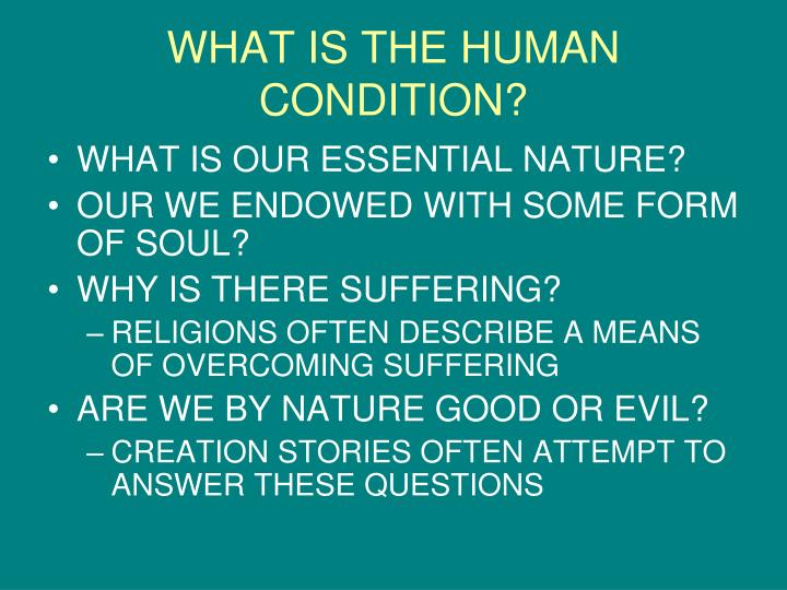 WHAT IS THE HUMAN CONDITION?