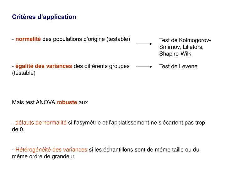 Critères d'application