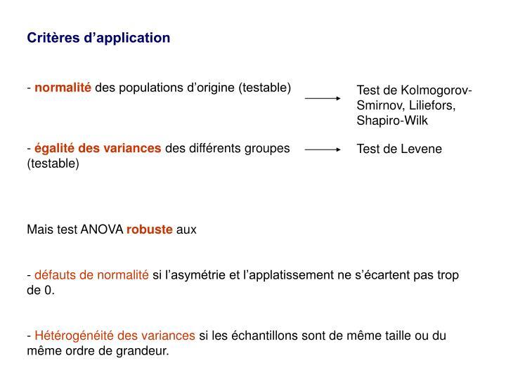 Critères d'application