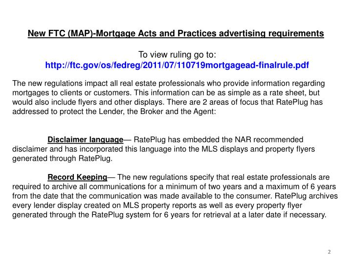 New FTC (MAP)-Mortgage Acts and Practices advertising requirements