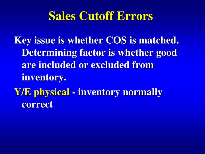 Sales Cutoff Errors
