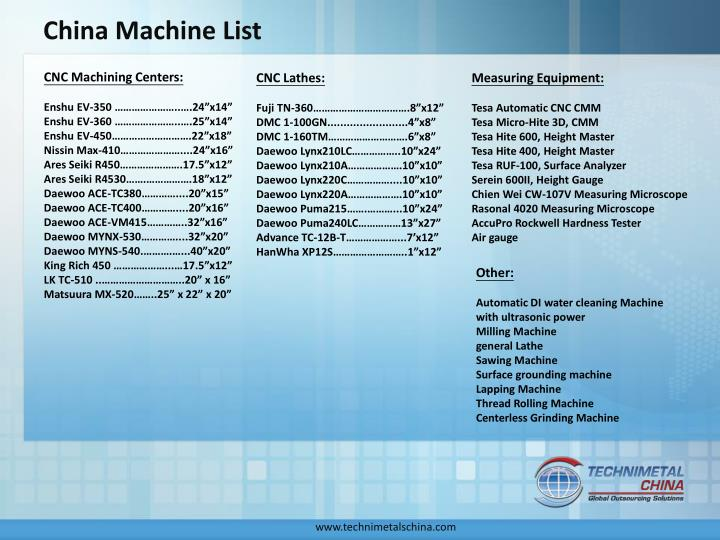 China Machine List