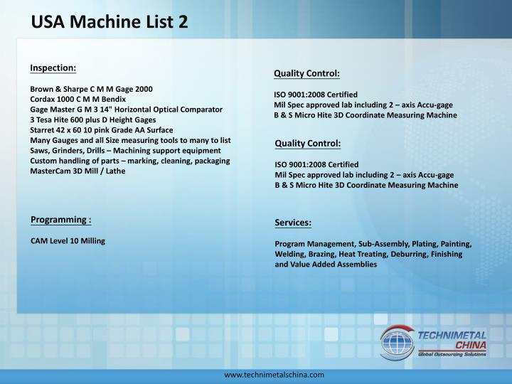 USA Machine List 2