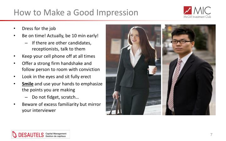 How to Make a Good Impression