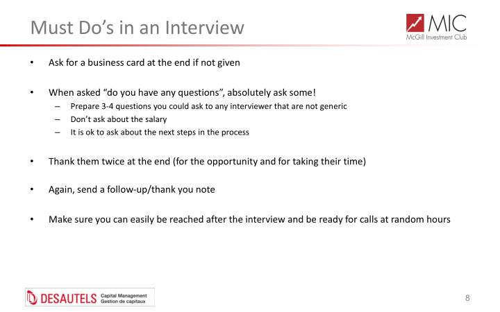 Must Do's in an Interview