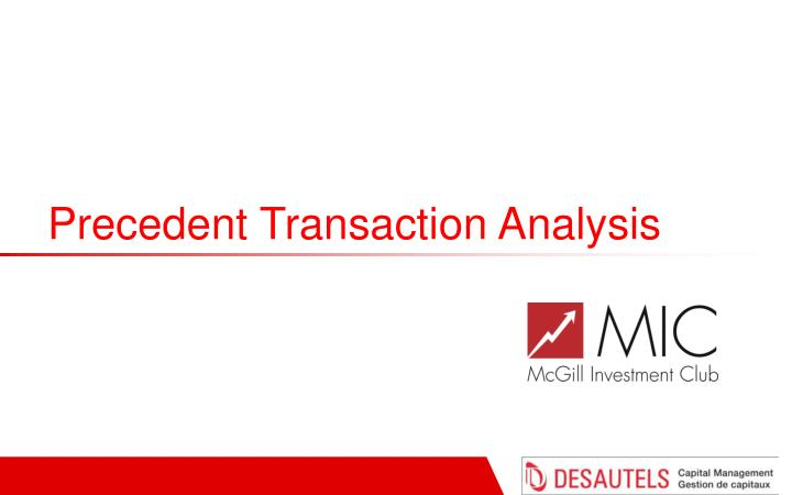 Precedent Transaction Analysis