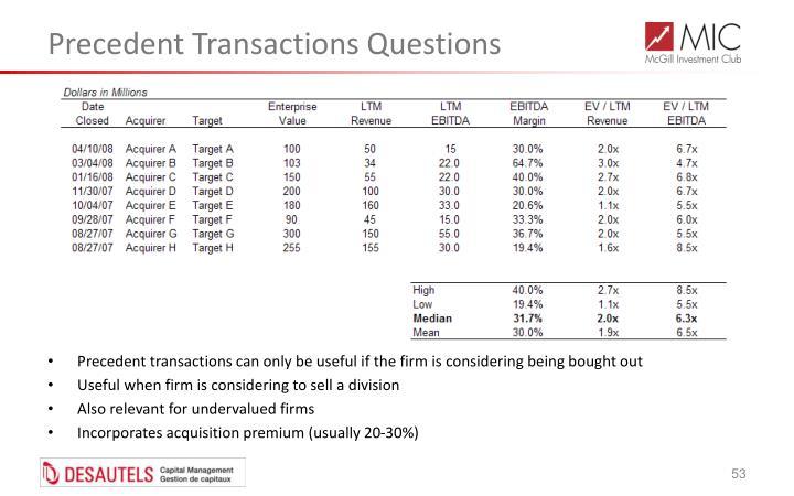 Precedent Transactions Questions
