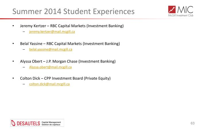 Summer 2014 Student Experiences