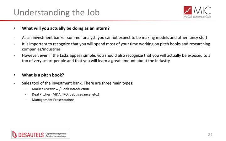 Understanding the Job