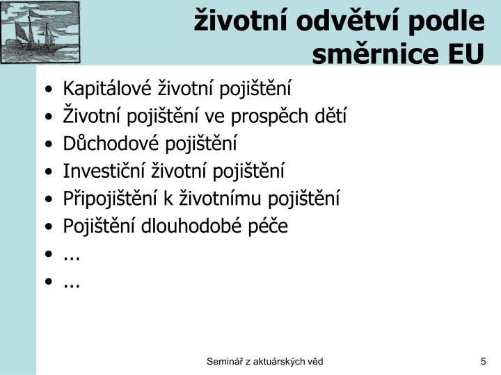 životní odvětví podle směrnice EU