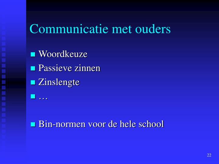 Communicatie met ouders