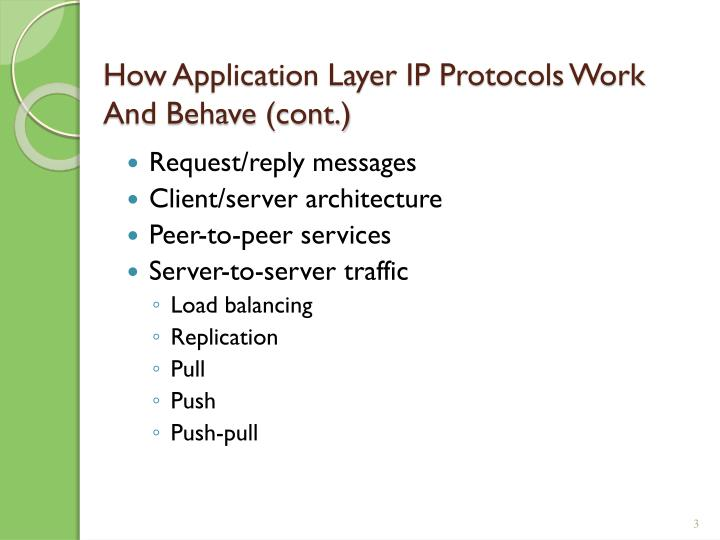 How application layer ip protocols work and behave cont