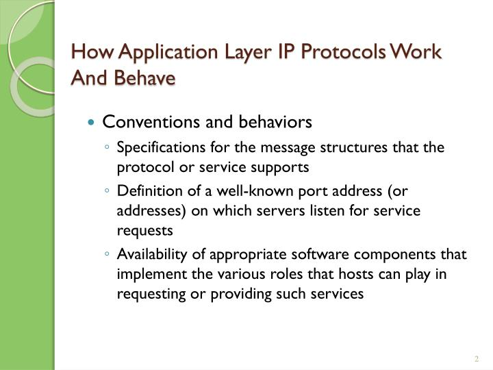 How application layer ip protocols work and behave