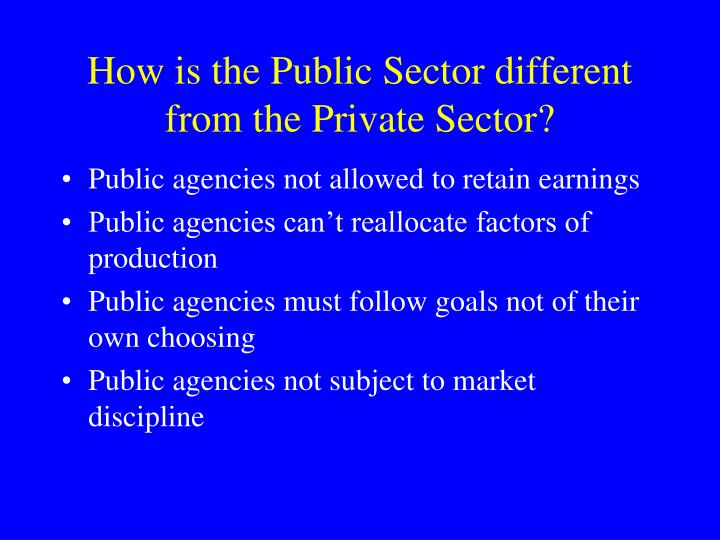 How is the Public Sector different from the Private Sector?