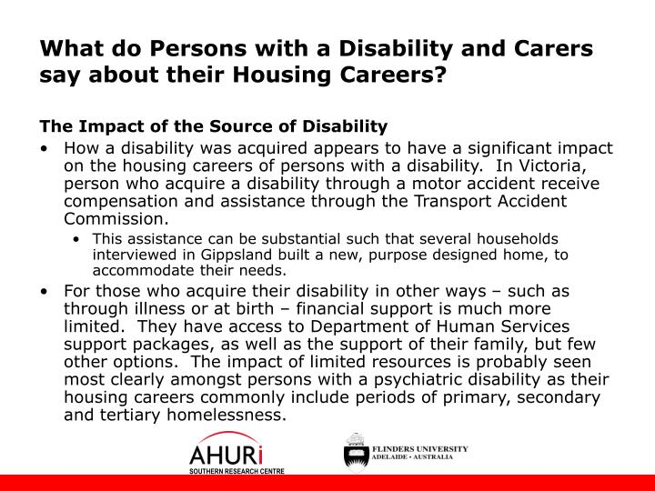 What do Persons with a Disability and Carers say about their Housing Careers?