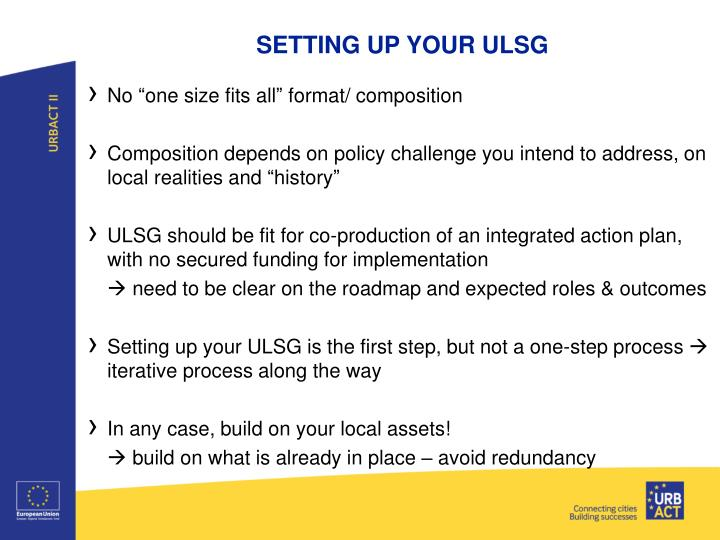 SETTING UP YOUR ULSG