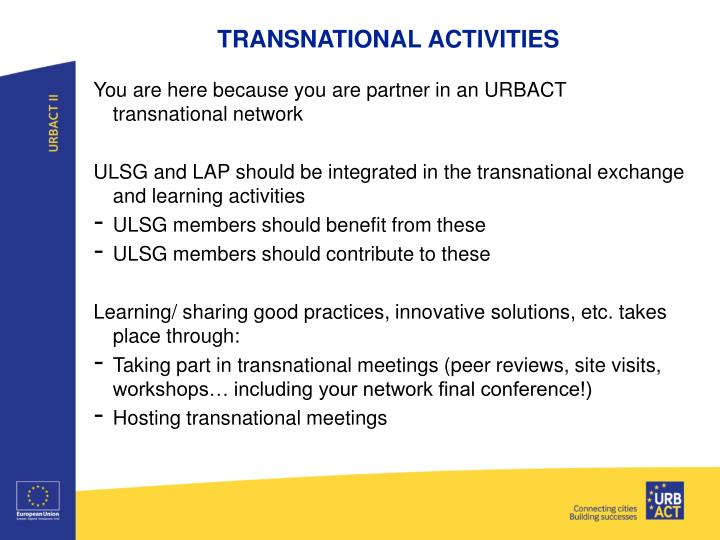 TRANSNATIONAL ACTIVITIES