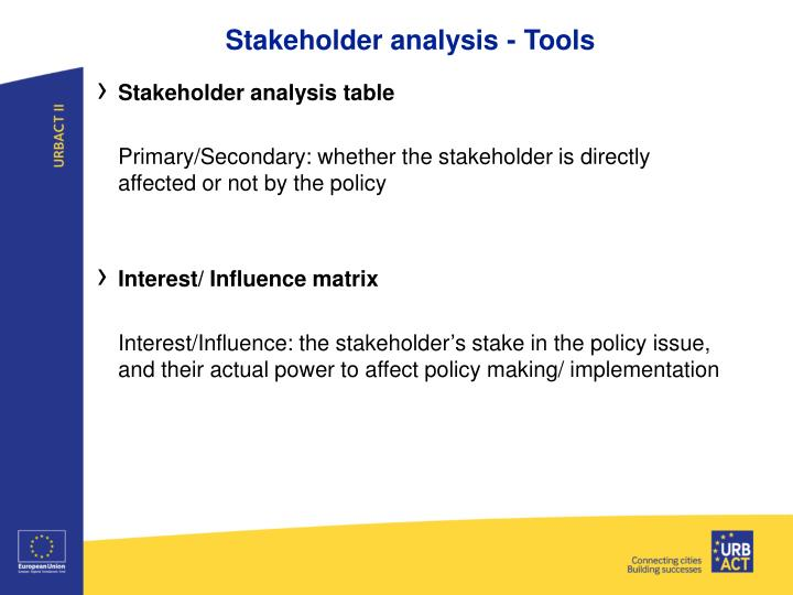 Stakeholder analysis - Tools