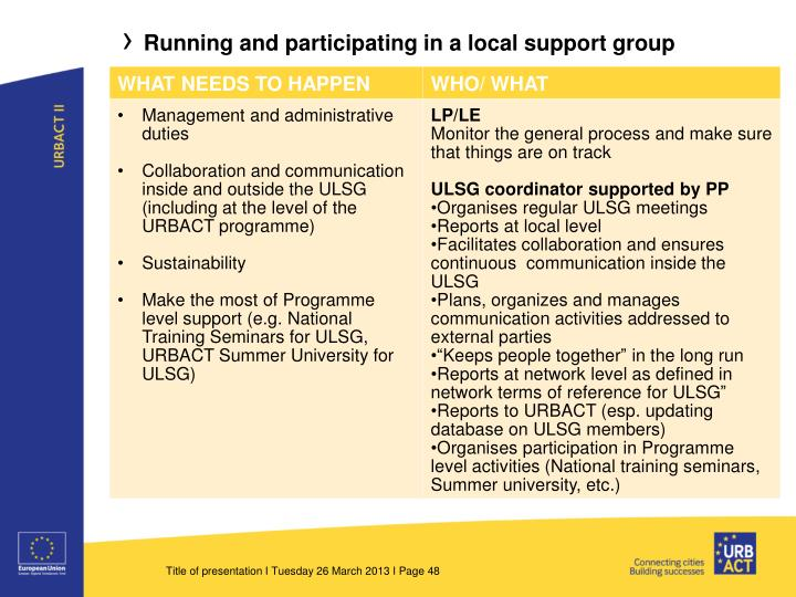 Running and participating in a local support group