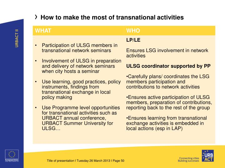 How to make the most of transnational activities