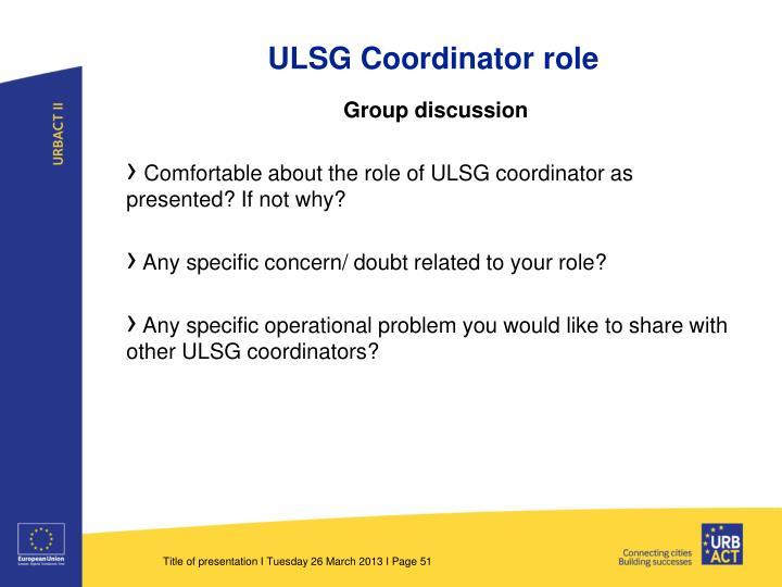 ULSG Coordinator role