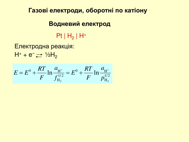Газові електроди, оборотні по катіону