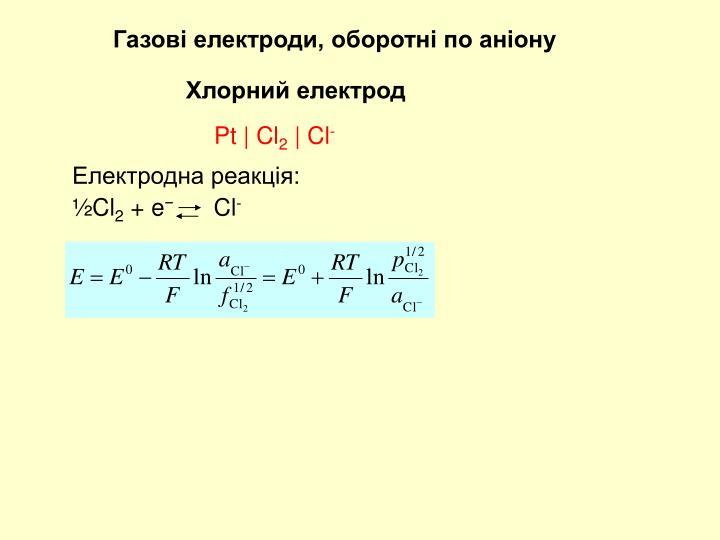 Газові електроди, оборотні по аніону