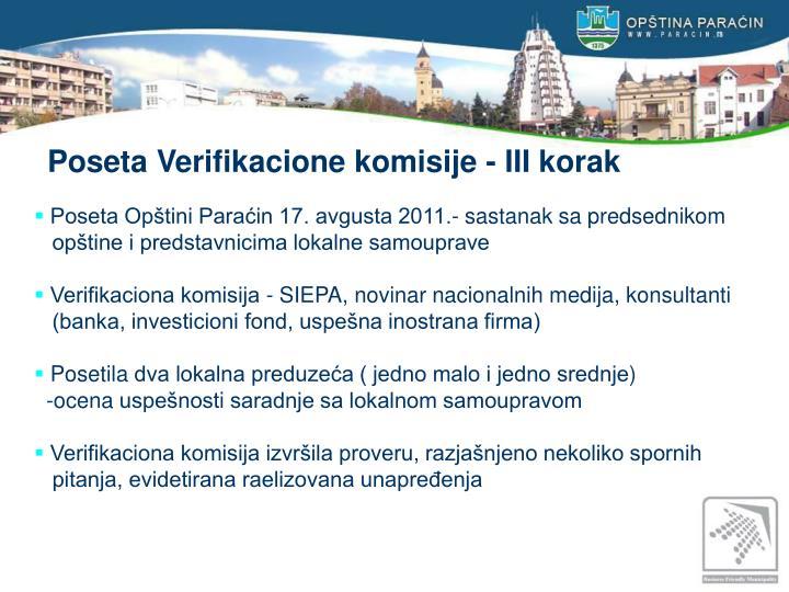 Poseta Verifikacione komisije - III korak
