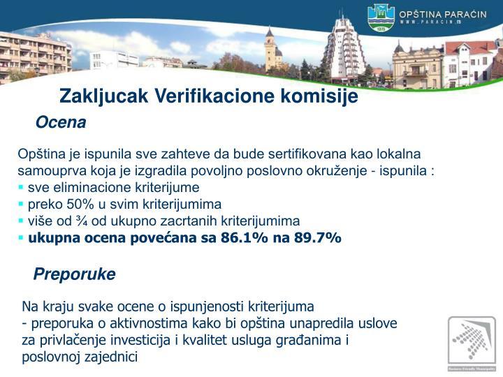 Zakljucak Verifikacione komisije