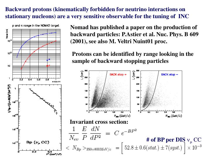 Backward protons (kinematically forbidden for neutrino interactions on stationary nucleons) are a very sensitive observable for the tuning of  INC