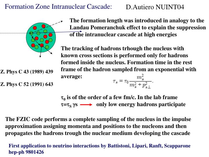 Formation Zone Intranuclear Cascade: