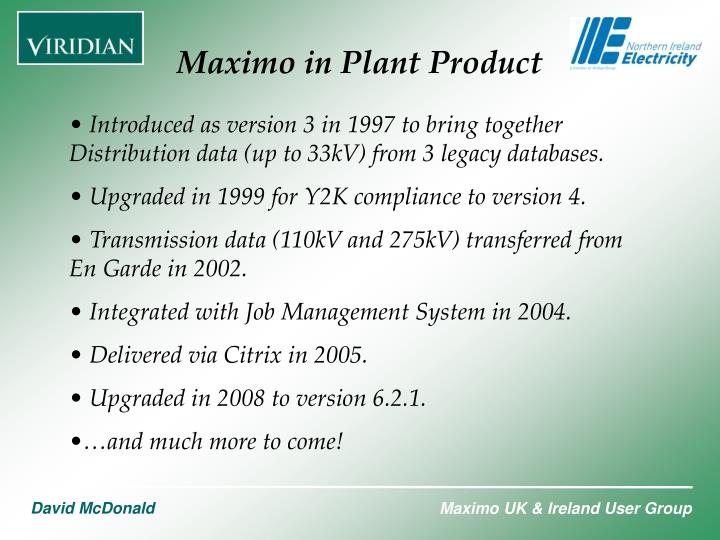 Maximo in Plant Product