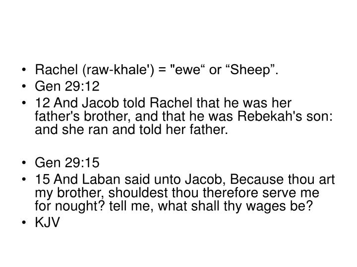 "Rachel (raw-khale') = ""ewe"" or ""Sheep""."