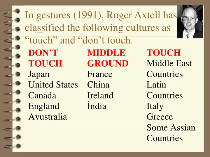 "In gestures (1991), Roger Axtell has classified the following cultures as ""touch"" and ""don't touch."