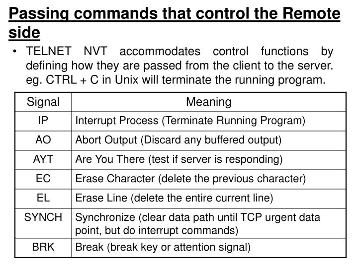 Passing commands that control the Remote side