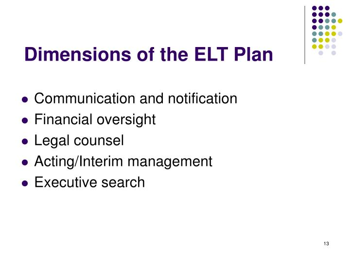 Dimensions of the ELT Plan