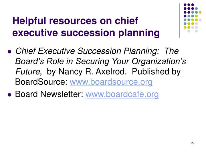 Helpful resources on chief executive succession planning