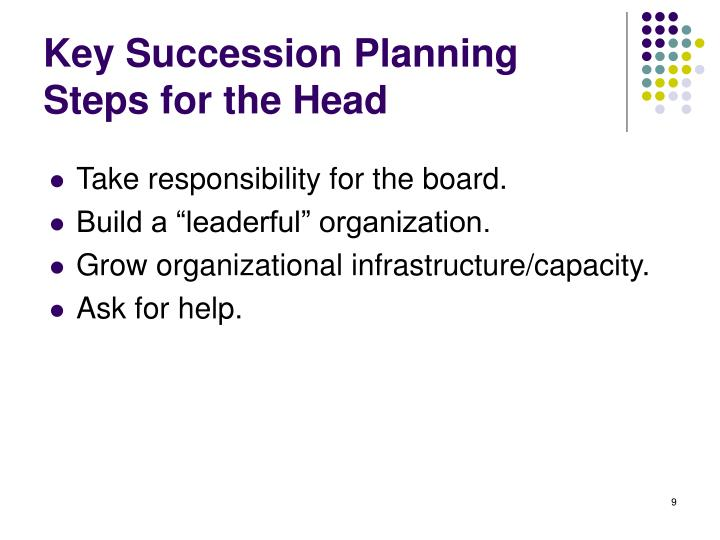 Key Succession Planning Steps for the Head