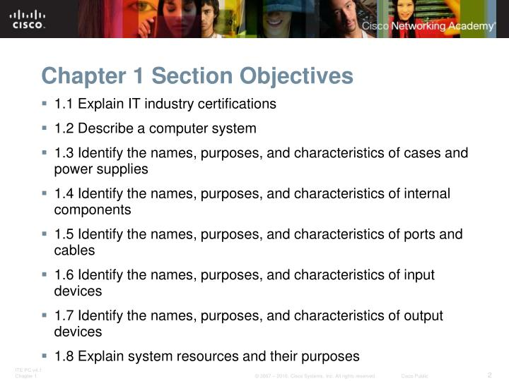 Chapter 1 section objectives