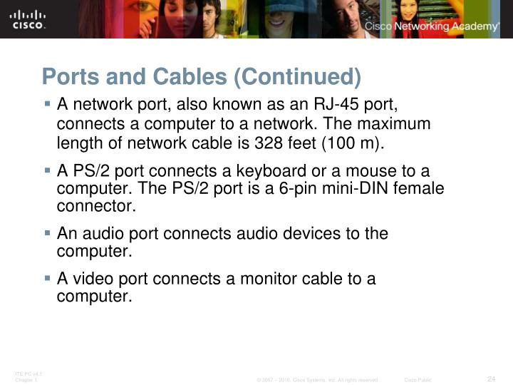 Ports and Cables (Continued)