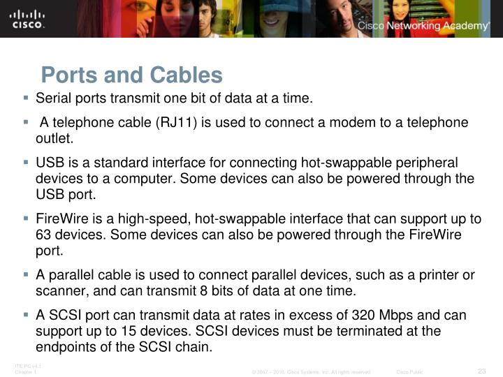 Ports and Cables