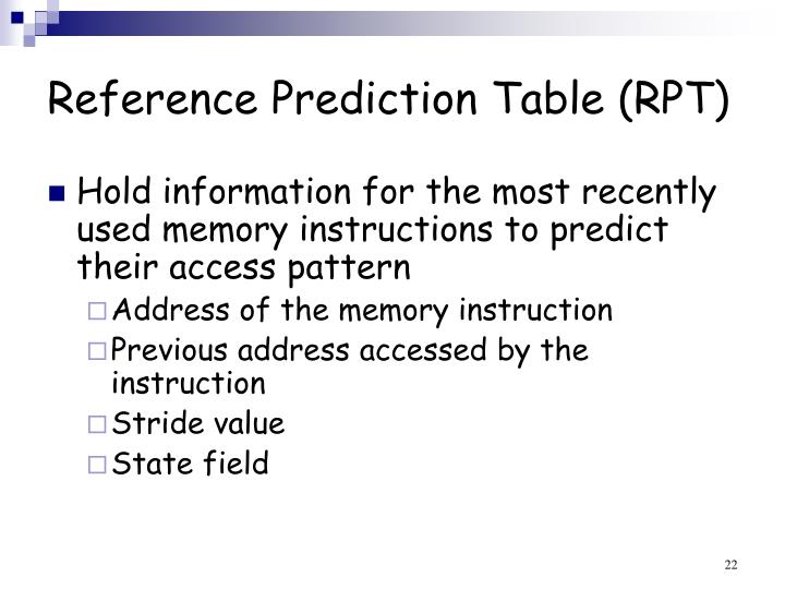 Reference Prediction Table (RPT)