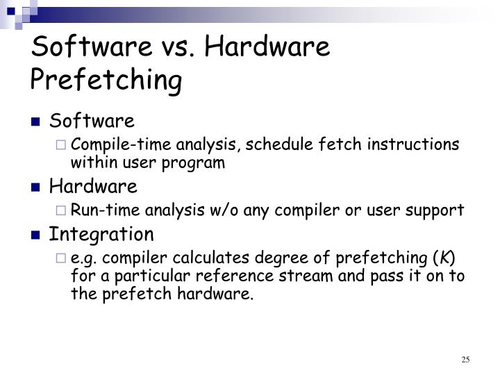 Software vs. Hardware Prefetching