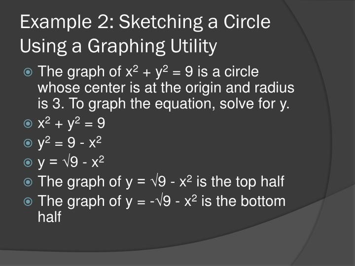 Example 2: Sketching a Circle Using a Graphing Utility