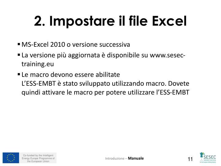 2. Impostare il file Excel