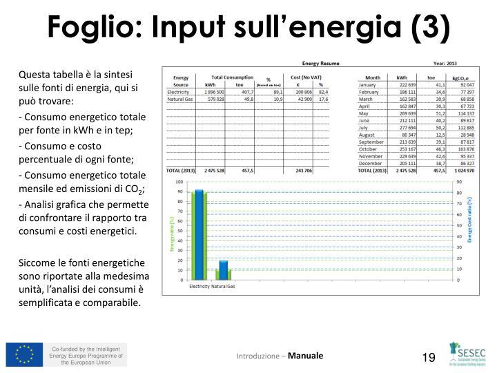 Questa tabella è la sintesi sulle fonti di energia, qui si può trovare: