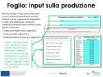foglio input sulla produzione