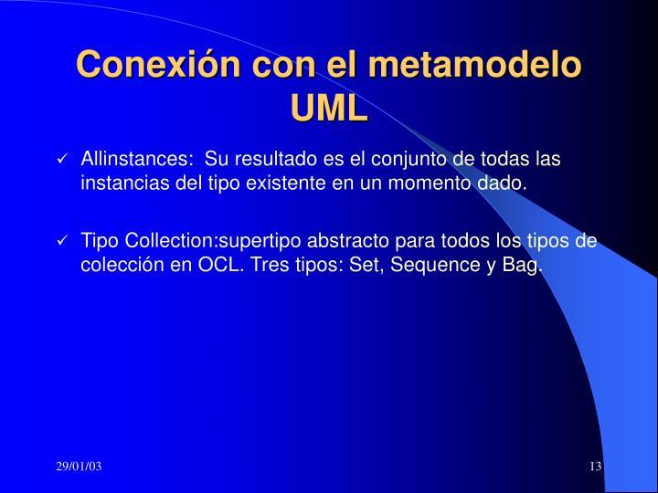 Conexión con el metamodelo UML